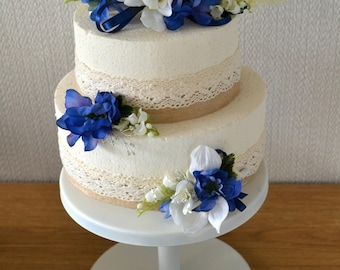 Wedding flower cake toppers. 3 tiers Royal Blue and Ivory