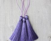 3.5 Luxury Long Silk tassel Lilac Purple Mala Beads tassel Pick Your Quantity DIY Fashion Earring Making A008