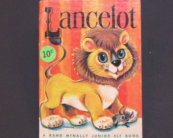 LANCELOT lion  vintage Rand Mcnally Jr Elf book Marjorie Barrows zoo on fire helps cant roar or purr Fusby  mouse 1963  Very Good!