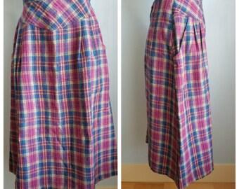 vintage wool polyester acrylic plaid skirt