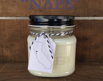 Napa || Scented Soy Candle || California || Black Raspberries || Vanilla || Handmade || Handpoured || Mason Jar Candle