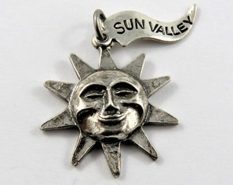 Happy Sun with Sun Valley Tag Attached Sterling Silver Charm of Pendant.