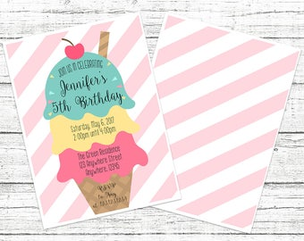 Cute Ice Cream Stripes Birthday Invitation - Any age!