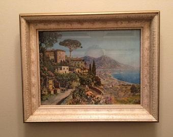 Vintage Print, Alois Arnegger Vintage Litho Bay of Naples in original wood frame, 11 X 14, Shabby Cottage, Vintage Seascape, Framed Art