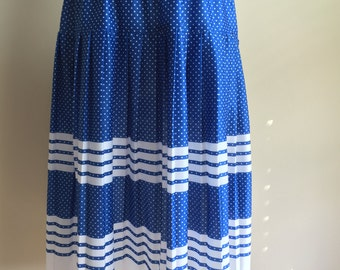 Vintage 1980s Blue and White Polka-Dot/Striped Pleated Skirt