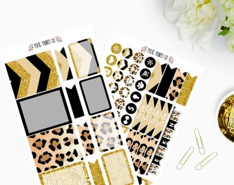 Leopard Print Planner Sticker Kit, Planner Stickers, Stickers for use with Erin Condren, Life Planner, Mambi, Happy Planner, Create 365