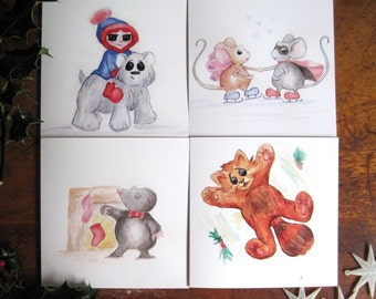 Cute Animal Christmas Cards, pack of 4 Watercolour Illustration, Cute Christmas cards, Animal Christmas Cards, Illustrated Cards, Cute Cards