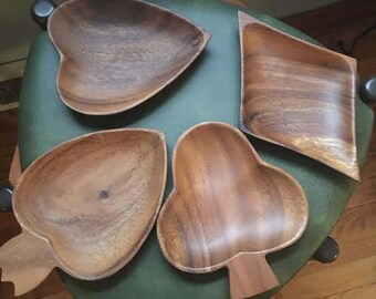 Vintage Wood Bowls- Card Symbols including Diamond, Spade, Heart, and Club