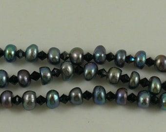 Freshwater Black Rondel Pearl Triple Strand Bracelet with Sterling Sliver Clasp