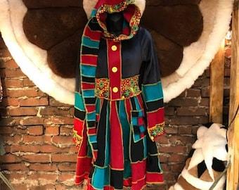 Katwise style upcycled sweater, Pixie Coat,Festival Coat,Fairy Coat,HandMade,Fair Trade, Renaissance Coat