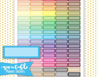 Multi colored quarter boxes PRINTABLE Planner Stickers | Pdf, Jpg, Silhouette Studio V3 Format | ECLP Vertical