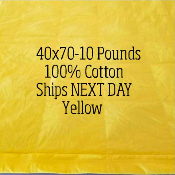 Weighted Blanket, 10 Pound, Yellow, 40x70, READY TO SHIP, Twin Size, Adult Weighted Blanket, Next Business Day To Ship