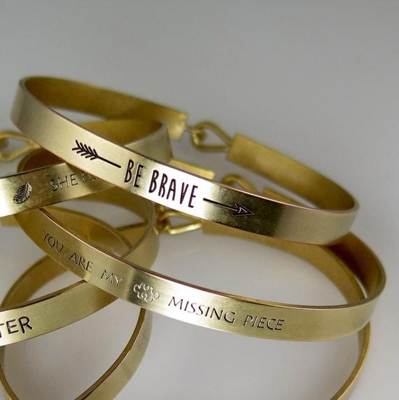 BE BRAVE Bracelet, Gold Cuff Bracelet, Mantra Band, Inspirational Gift, Gold Bracelet, Stamped Cuff, Gold Bracelet, Jewelry