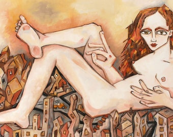 "Painting of Woman, Feminist, Figure Painting, Cityscape, Modern Art, Handmade, Oil Painting, Home Decor, Nude Painting, ""City Sprawl"" 24x36"