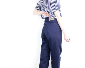 French Vintage 80s 90s Navy Blue Mom Jeans High Waisted Tapered Denim Peg Leg Cigarette Boyfriend Trousers 1990s Hipster  / S Size 36