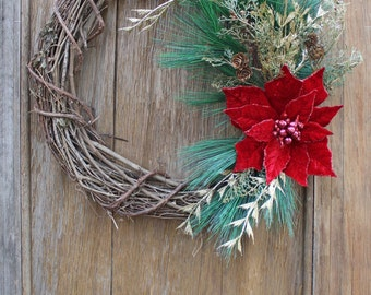 Red Poinsettia Wreath, Christmas Wreath, Holiday Wreath, Winter Wreath, Poinsettia, Christmas Decor, Holiday Decor, Front Door Wreath