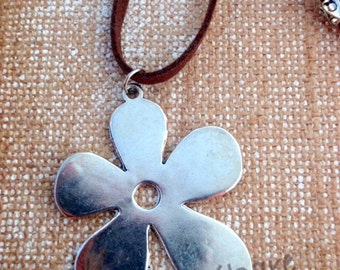 XL neckglace flower - flower silver - boho - Collar with adjustable length - nature