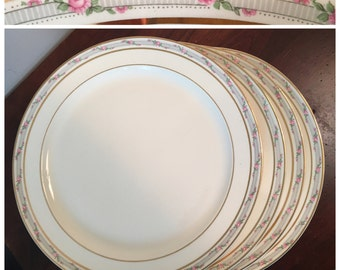Taylor Smith Taylor Dinner Plates - Set of 4 - Pattern #5431 / Gold Band & Pink Rose Dinnerware