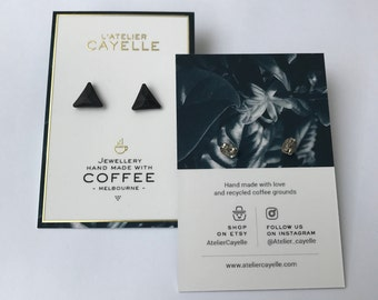 Triangle earrings made with recycled coffee grounds - Coffee addict fav