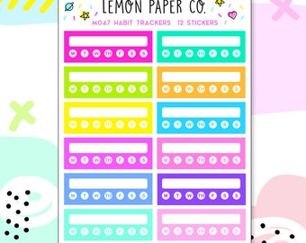 M047 Habit Trackers // Planner Stickers