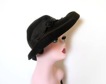 Vintage 1940s Dark Brown Wool Wide Brim Hat~ New York Creation