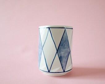 Vintage Ceramic Planter   Blue Painted Design   Pot