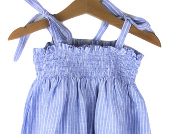 Baby blue & white stripe linen dress