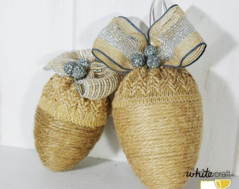 Rustic acorn ornament pack / Pack of sdornos rustic with form of Acorn. Christmas. Christmas. Jute.