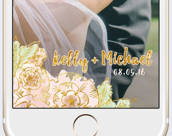 Wedding Custom Snapchat Geofilter Personalized Geo Filter with Customized Names and Date / Watercolor flower floral pastel peach gold foil