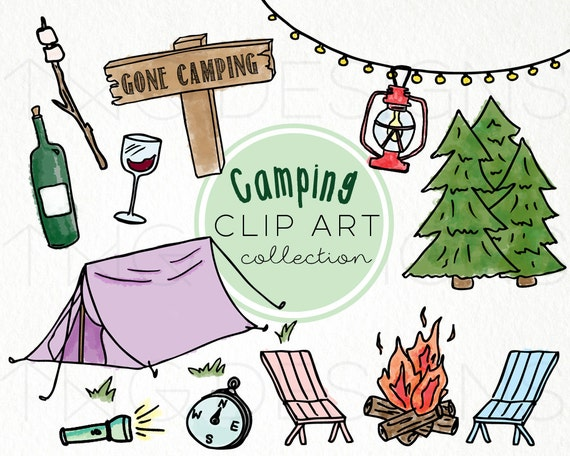 Hand Drawn Clip Art PNG Files Doodles Digital Download Camping Outdoors Activities Nature Vacation Holidays Campfire Tent Camp Wine From TWGDesigns