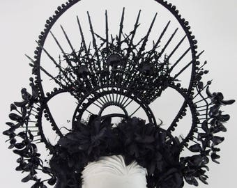 KALI Gothic Headdress WGT Black Spikes Crown, Decorated Arch, Orchid Flower Elegant Headpiece, Hair and Head Accessory
