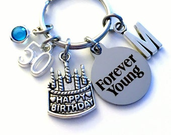 Gift for 50th Birthday Present KeyChain, Happy Birthday Cake Keyring, Forever Young Key chain Jewelry Initial Birthstone letter 90 60 70 80