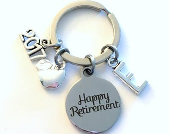 Retirement Gift for Dietitian Keychain, 2017 Principal Teach, Nutritionist Apple Key chain Keyring Retire Coworker Initial letter teacher