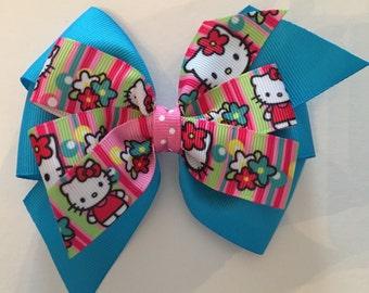 Hello Kitty Hair Bow Hello Kitty Bow Pink Hello Kitty Bow Turquoise Hello Kitty Bow Pink and Turquoise Bow Pink Stripe Hello Kitty Bow