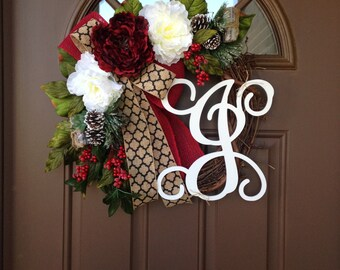 Christmas Wreaths for Front Door - Grapevine Christmas Wreaths - Christmas Front Door Decor - Peony Wreath -Personalized Christmas Wreath