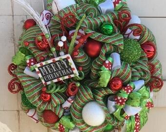 Christmas wreath,Merry Christmas wreath,Red and green christmas wreath,Christmas decor,Whimsical Christmas ,Red green white christmas wreath
