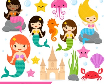 Mermaid Clipart / Under the Sea Creatures / Seahorse / Crab / Jellyfish / Starfish