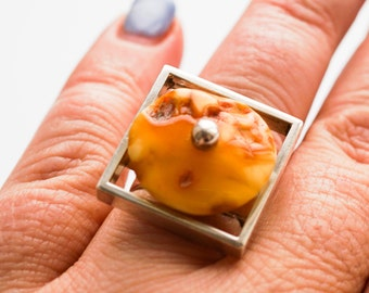 Handmade Baltic amber silver ring