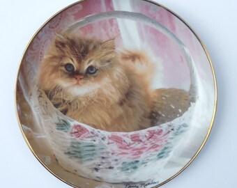 Bundle of Joy by Nancy Matthews Cat Plate, Franklin Mint Cat Plate, Persian Cat Plate
