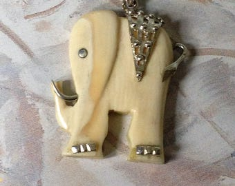 Elephant necklace,Elephant pendant, carved silver and bone necklace