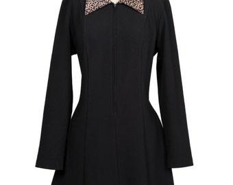 Vintage 90s grunge Leopard Collared Zip up Dress - 90s gothic long sleeve black sip up leopard collard dress