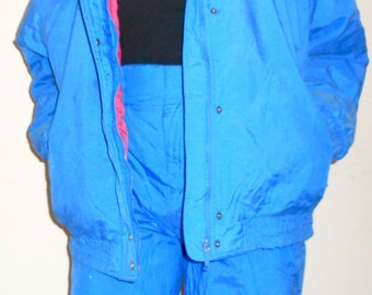 RETRO 1980'S SKI SNOWSUIT, Two Piece, Bright Blue, Pink, Vintage Ski Jacket, Retro Snowsuit, 80's Winter Jacket, Colorful Snowsuit, ski