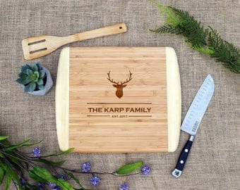 Last Name Cutting Board w/ Deer Head, Rustic, Antlers, Custom, Personalized, Cheese Board, Laser Engraved, Christmas, Holiday, Gift, Present