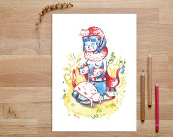 Cat Lady Art Print, Cat Lady Gift, Catlover Gift, Crazy Cat Lady, Funny Cat Art Print, Cat Illustration, Catlover Art, Cat Gifts, Cat art