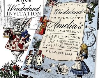 Alice In Wonderland Theme Custom Color Birthday Party Invitation