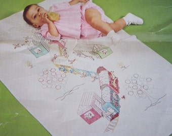 Vintage Baby Blanket Kit Baby Quilt Kits w/ DMC Embroidery Floss Cross Stitch Baby Quilts for Girls Baby Girl Boy Animal Nursery Decor 70s