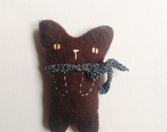Felt cat/Cat/bag wool ornament pin/Cat/Gift handmade felt cat lovers/Big brooch/Brown cat