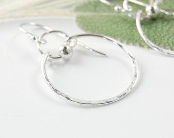 Medium Hoop Earrings, Hammered Sterling Hoops, Sterling Silver Hoop Earrings, Dangle Hoops,  Hammered Silver Earrings, Sterling Hoops, Gift