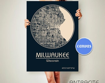 MILWAUKEE Wisconsin CANVAS Map Milwaukee Wisconsin Poster City Map Milwaukee Wisconsin Art Print Milwaukee Wisconsin poster Milwaukee