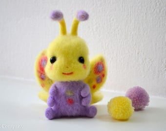 Made to order needle felted butterfly in purple and yellow, Felt insect toys, Butterfly nursery decor.